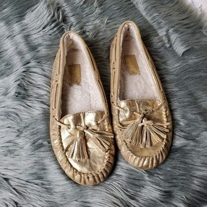 Coach Anita gold loafers 8
